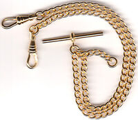 Rolled Gold Solid Pocket Watch Double Albert Chain Close Curb Fob - FA43