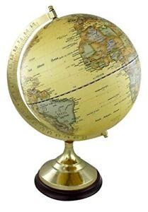 Edler Globus auf Holzstand H 22 cm- Messinggestell- Antikdesign