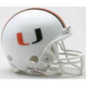 MIAMI HURRICANES NCAA Riddell ProLine VSR-4 Authentic Mini Football Helmet