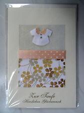 Grußkarte Taufe, Umschlag in Creme, Faltkarte Glückwunschkarte