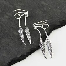 Two Feathers Ear Cuff Earrings - 925 Sterling Silver - Feather No Piercing NEW