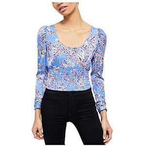 MSRP $98 Free People Womens Santiago Print Blouse Bluebell Combo Size Small
