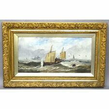 Stunning Antique English Framed Maritime Painting, signed J. Wilson 1888