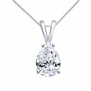 2.50 Ct Pear-Shaped CZ 14K Solid White Gold Solitaire Pendant