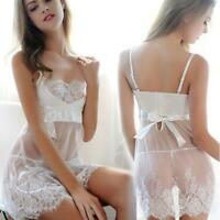 Women Lingerie Babydoll Sleepwear Underwear Lace Dress White Nightwear+G-string