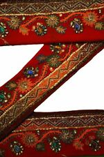 Antique Vintage Sari Border Woven Indian 1Yd Trim Embroidered Ribbon Lace ST1666