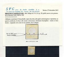 ANTICHI STATI 1861 NAPOLI PROVINCIA 20 GR. GIALLO C/9780