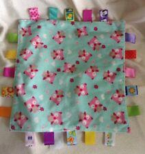 Taggies Pink Teal Owl Baby Security Blanket Hearts Flowers