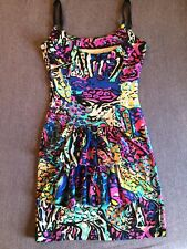Betsey Johnson Rare Bustle Psychedelic Punk Deer Party Dress S Ruffle Festival