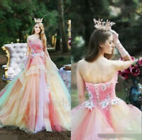 Rainbow Wedding Bridal Evening Dresses Sweet 16 Party Quinceanera Prom Ball Gown