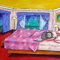 OWl sleeping art tile coaster gift JSCHMETZ modern