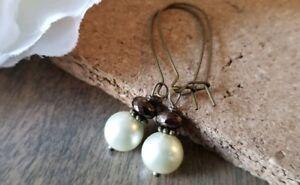 Cream pearl earrings long dangle bronze vintage style glass brown large