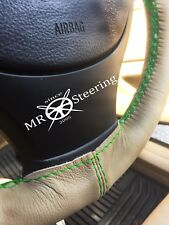 FOR SEAT ALHAMBRA MK1 96-10 BEIGE LEATHER STEERING WHEEL COVER GREEN DOUBLE STCH