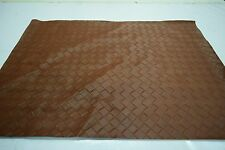 """2NDS FABRIC SADDLE BROWN LATTICE BASKET WEAVE VINYL UPHOLSTERY SQUARE 27"""" BY 20"""""""