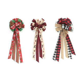 Christmas Tree Bow Decorations Topper Plaid Bow-knot Christmas Tree Ornaments