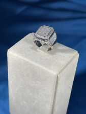 Unique Design 925 Sterling Silver Ring Gents Full Cubic Zirconia Bling Iced Out