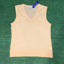 NWT Women's Pendleton Superfine Merino Wool V-neck Yellow Vest Sweater