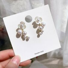 1Pair Silver Fashion Pearl Flower Ear Stud Elegant Women Earrings Jewelry New