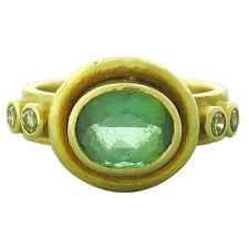 Elizabeth Locke 18k Gold Fancy Diamond Beryl Ring