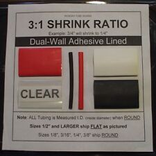 "1/4"" CLEAR 4 Ft. Dual-Wall Adhesive Lined Heat Shrink Tubing 3:1 Ratio"