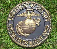 U.S. MARINE CORPS DEPT OF NAVY SEMPER FI - HAND PAINTED CEMENT DECORATIVE STONE