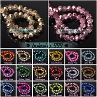 Colourful Rondelle Faceted Crystal Glass Loose Spacer Beads Lot 4mm 6mm 8mm 10mm