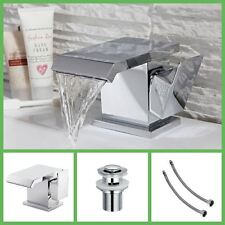 Square Wide Waterfall Designer Bathroom Basin Mixer Tap in Chrome BRAND NEW