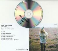 GOLDFRAPP A&E - Remixes UK 6-track promo only CD Maps Hercules & Love Affair