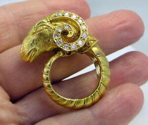 Estate Vintage Fabulous 22K Yellow Gold 1.75 Carat Diamond Ruby Ram Aries Ring