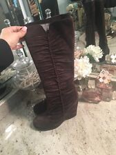 MIA Brown Suede Slouchy Wedge Calf Boots - 8