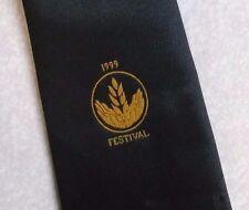 1999 HARVEST FESTIVAL TIE VINTAGE 1990s BLACK GOLD CREST MOTIF MACCLESFIELD