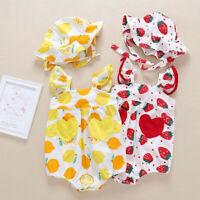 Newborn Infant Baby Girl Straps Pineapple Print Romper + Hat Sunsuit Bodysuit