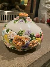 Vintage Lusterware Egg Coveredtrinket Dish With Flowers Multicolored