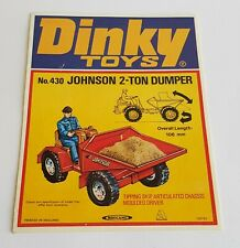 Rare 1970's Dinky Toys No. 430, Johnson 2-Ton Dumper, Shop Sign - Mint Condition