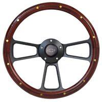 El Camino Mahogany Wood Steering Wheel w/ Black Chevy Horn & Black Adapter