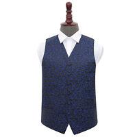 DQT Woven Swirl Patterned Black & Blue Formal Mens Wedding Waistcoat S-5XL