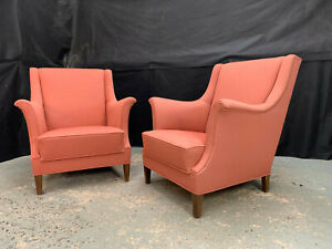 EB1829 Pair of Danish Pink Wool Winged-Backed Arm Chairs Vintage Lounge Retro