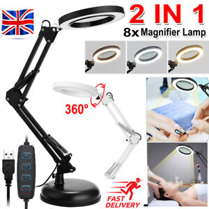 Magnifying Lamp/Light Daylight Magnifier 8X Desktop Table Work Bench Tattoo USB