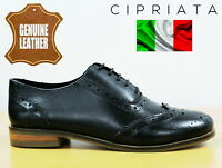 Cipriata Womens Black Leather Oxford Brogues Ladies Formal Dress Shoes