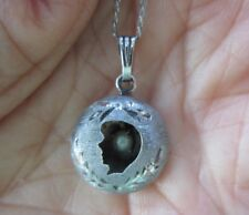 """RARE MARVEL Sterling Boy Silhouette Mourning Pendant Necklace w Pearl 17"""" L VTG"""