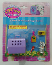 1992 HASBRO LITTLEST PET SHOP HAPPY PUPPY AND PUPPY CARRIER MOC NEW (yellow)
