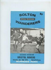 January 1975 Bolton Wanderers Bristol Rovers Soccer Program