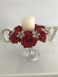 Red  rose flower & AB bead candle ring Wedding / Christmas Centrepiece