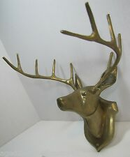 Vtg Brass Deer Head 'Mount' 10 point 'taxidermy' antler unique hunting trophy