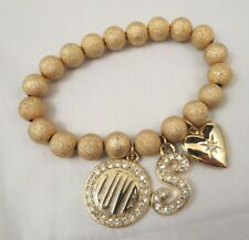 Stretch Charm Bracelet Textured Gold Tone Metallic Beads Rhinestones Locket Love