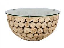 Couchtisch 80x80 Glasplatte Teak massiv Holz Möbel Design Wohnzimmertisch Mayne