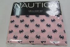 NWT Nautica Pink Stripe with Crabs Twin XL Sheet Set NEW