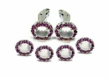 Solid 925 Sterling Silver Men's Cufflink and Tuxedo Button Set in Moonstone Ruby