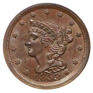 1853 C-1 NGC MS 65 BN Braided Hair Half Cent Coin 1/2c