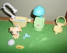 Littlest Pet Shop Golden Retriever #268 Bathtub Accessories LOT Salon VHTF